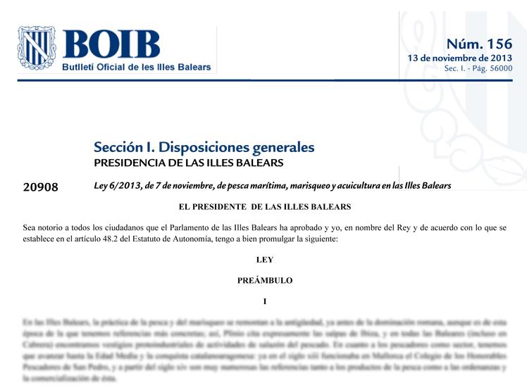Ley 6/2013, de 7 de noviembre, de pesca marítima, marisqueo y acuicultura en las Illes Balears