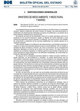 Real Decreto 347/2011, de 11 de marzo, por el que se regula la pesca marítima de recreo en aguas exteriores.