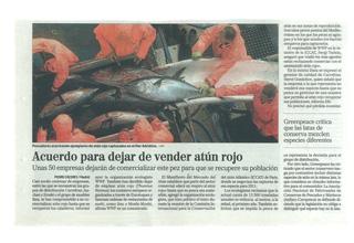 Acuerdo para dejar de vender atún rojo