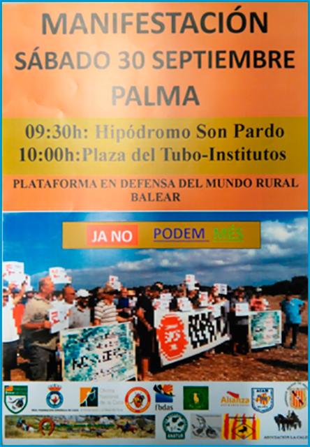 Manifestación en Defensa del Mundo Rural Balear. Sábado 30 de Septiembre. Palma.